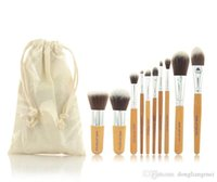 Wholesale 10 Pro Cosmetic Brush set Bamboo Handle Synthetic Makeup Brush Kit make up toiletries brush tools Y309