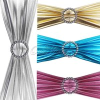Wholesale New Shiny Foil Stretch Chair Cover Bands With Diamond Ring Buckle Wedding Party Decor Product Supplies