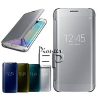black and gold - For Galaxy S6 Edge and S6 Edge Plus Case Luxury Mirror View Clear Flip Case Cover Hyperbolic Mirror All around protection
