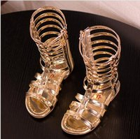 Wholesale 2016 Fashion Summer Girls Princess Gladiator Sandals Open Toe Hollow Out Children Sandals Boots PU Leather Kids Zipper Boots