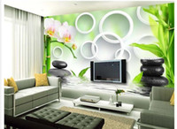 Wholesale Custom photo wallpaper Large D sofa TV background wallpaper mural wall Bamboo orchid stone d mural wallpaper
