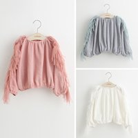 Wholesale new spring autumn kids girls solid white pink gray tassel blouse