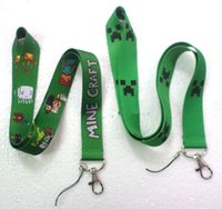 Wholesale Promotion Minecraft Lanyard MP3 cell phone keychains Neck Strap Lanyard Keychain Key ID long Straps Party Green M480