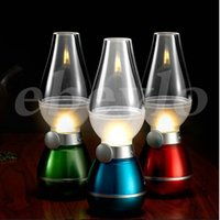 Wholesale Retro classic blow light LED USB portable rechargeable blowing control kerosene lamp dimmable desk lamp light bedside lamp