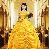 Wholesale New Custom Cartoon Cosplay Fantasia Women Halloween Princess Costume Belle Dress Adult Princess Belle Costume Adult