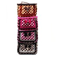 Cheap 1pcs Lace bow Grid check pattern Sanitary napkins Cosmetic Storage Box Multicolor Gift For Family 21*13.7*12.5cm BB17 FG1510