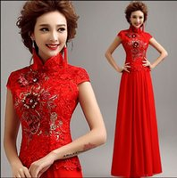 Wholesale New Arrival Hot Sale Fashion Elegant Luxury Princess Red Gem Lace Host Sequins Noble Party Cheongsam Custom Toast Dress