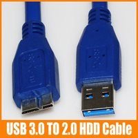 Wholesale HDD Cable Micro USB Male to USB Male Moblie HDD Cables CM Blue High Quality for Samsung Note N9005