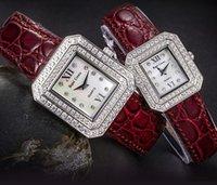 Wholesale watch luxury watches fashion diamond watches quartz men women wristwatches luxury Sapphire gold ladies watch leather strap rectangle case