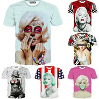 Cheap w20151222 2015 sexy stars pinup girl Marilyn monroe t shirt 3D rose flag ballon funny T-shirt for men women casual tshirt clothing tops