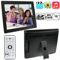 Wholesale Black inch x768 LCD Digital Picture Photo Frame with Holder Remote Control Support SD MMC MS Card and USB N