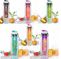 Wholesale ML Fruit Infusing Infuser Water Sports Health Lemon Juice Bottle Flip Lid New