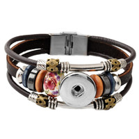 Wholesale Chunk Snap Bracelet - Hot Wholesale Newest Design Ginger Snap Bracelet Snap Buttons NOOSA Chunks Leather Bracelets For Women Fit 18mm Rivca Snap Jewelry