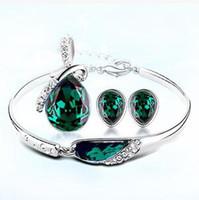 2,015 Vente chaude fixe alliage Autriche cristal Colliers Bracelets Boucles d'oreilles de bijoux, cadeau de mariage des femmes, des bijoux de mode 5 ensemble de la livraison gratuite
