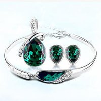 Wholesale 2015 Hot Sale Alloy Austria Crystal Necklaces Bracelets Earrings Jewelry Sets wedding gift of women fashion jewelry set