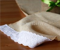 Wholesale quot W x108 quot L Yellow Burlap Linen Table Runners with Cotton Lace For Wedding Party Table Decoration