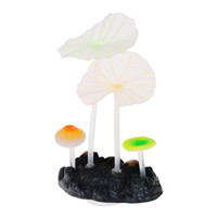fish decorations - Aquariums Accessories Mini Artificial Coral Reef Glowing Lotus Leaf Mushroom Fish Tank Aquarium Decoration Ornaments with Sucker H15181