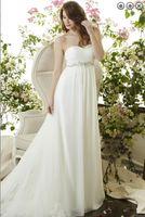 Wholesale 2015 New Coming Chiffon Sweetheart Neck Sweep Train Lace Trim Beads Belt High Waist Wedding Gowns Spring Summer Beach Wedding Pleats
