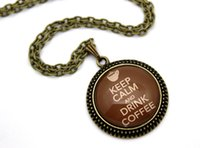 american drinks - 10pcs Keep Calm and Drink Coffee Necklace Glass Cabochon Necklace
