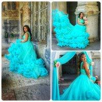 aqua garden - Aqua Goddess Cloud Wedding Dresses New Plus Size Spaghetti with Beads Belt Tiered Skirts Court Train Spring Bridal Gowns BA0660