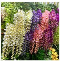 plastic rattan - Simulation Wisteria Long Pudding Decoration Wedding Flowers Series Rattan Cane Vine Fowers Silk Flowers Plastic Rattan Flower