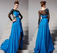 Reference Images Crew Chiffon 2014 New Arrivals Prom Dresses Peacock Blue Crew Neckline Hi-Lo Long Lace Sleeves Empire Waist Zipper Back Prom Evening Party Dresses SH017