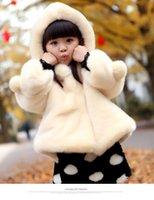 Wholesale Casual Faux Fur Hooded Pad - Girls Faux Fur Coat Kids Hooded Cotton-padded Jacket Princess Outerwear Winter Warm Coats Cardigan Children Wool Clothing White Rose Red