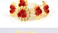 Wholesale Elegant Gold And Red Shinning Pattern Wedding Bridal Accessories Tiaras Crown For Bride
