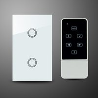 Wholesale 2 gang RF MHz US AU standard compatible with broadlink rm2 pro glass panel room lights remote control switch