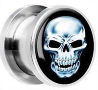 Wholesale L Stainless Steel Skulls Screw Ear Gauges Plugs Ear Plugs Tunnels Body Piercing Jewelry