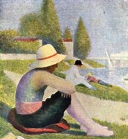 bathing oil paintings - Landscape oil paintings on linen Bathing in Asnieres Georges Seurat s reproduction hand painted