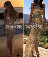 Wholesale New year sexy Black Gold paillette Floor length gown evening party dress Hollow Strapless OFF Shoulder Party Long Dress