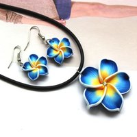 Wholesale Stylish Blue Hawaii Flowers Crystal Polymer Clay Earrings Pendant Necklace Set