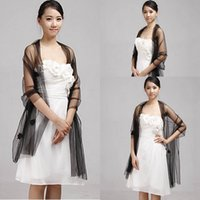 Wholesale Long Scarves For Summer - Charming Wedding Shawl Stole Black Tulle Bridal Wrap Women Long Scarf for Evening Dress