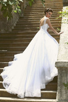 bead tank - Unique Sweetheart Tank Embroidery A Line Tulle Wedding Dresses With Chapel Train Long Bridal Dress Vestido De Noiva