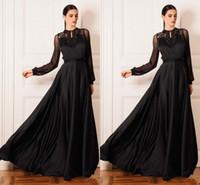 beaded ribbon trim - Black Chiffon Prom Dresses Long Sleeves See Through Elegant Evening Gowns High Neckline Ribbon Trim Silk Like Chiffon Red Carpet Dress