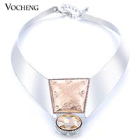 Wholesale VOCHENG Imitation Rhodium Plated Statement Chunky Choker Necklace Vf