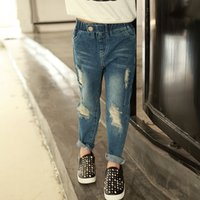 Cheap 2016 New Spring New Edition Children Joker Hole Jeans Trousers and Little Feet Pants
