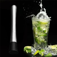 Wholesale 2015 High Quality Cocktail Muddler Stainless Steel Cocktail Picks Crushed Ice Barware Bar Accessories Mixer Barware MIXOLOGY DIY