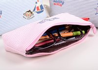Wholesale Lovely nautical stripe small fresh creative high capacity simple pen bag pencil pouch pen bag box