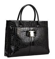 red patent leather handbag - 2012 new PU patent leather crocodile pattern handbag large bag commuter portable shoulder messenger bag handbags