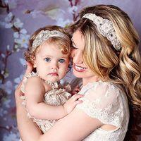 Wholesale Vintage Mom and Me Headband Inspired Couture Stunning Rhinestone Headband Elastic Baby Girl Rhinestone Headband Sets
