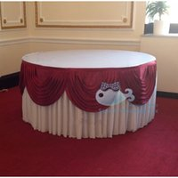 Wholesale Ice Silk Table Skirt With Burgundy Color Swags Good Looking Table Skirting For Wedding Used For Round Or Rectangular Tables