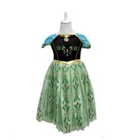 Cheap 40pcs In stock green costume dress for kids frozen girls dress costume fantasy princess dress elsa anna costume dress kids