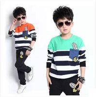 alphabet appliques - 015 spring new children s clothing boys Korean alphabet striped suit Zhongshan University Children s long sleeved suit