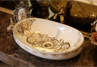 Wholesale Bathroom Superior Ceramic Counter Top Sink Oval Wash Basin Porcelain Hand Painted Cloakroom Art Vessel Sinks jy fx9981