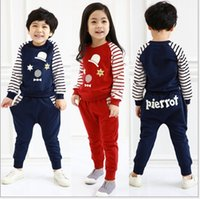fine clothing - 2014 Autumn new style gril boys clothing children sets Han edition little hat upset kids Striped suit Children s fine suit baby outfits GR74