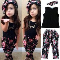 Wholesale Drop shipping Girls Fashion floral casual suit children clothing set sleeveless outfit headband summer new kids clothes se