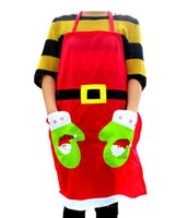 Wholesale 2016 New Christmas products bar restaurant waiters Christmas dress red non woven Christmas decals apron style