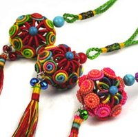 Wholesale 5 Chinese Folk Colorful Knitting Yarn Ornaments cm Elegant Car Auto Rearview Mirror Car Hanging Ornaments